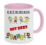 Erzieherin mit Herz - Danke - Kaffeetasse mit Motiv, bedruckte Tasse mit Sprüchen oder Bildern - auch individuelle Gestaltung nach Kundenwunsch