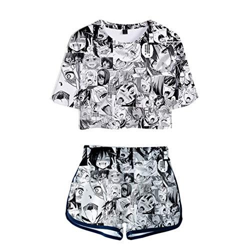 Frauen Sommer 3D Cartoon Ahegao Gedruckt Zwei Stücke Set Pyjamas Kurzarm T-Shirt + Kurze Hose Lustige Kostüm 4 Farben - Lustige Kostüm Für Damen
