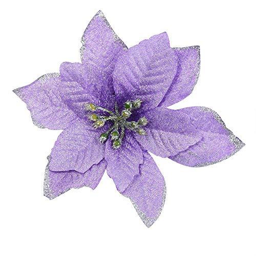 Gusspower 8pcs 13cm Purpurina Flor Artificial De Árbol De Navidad, Adornos del Árbol De Navidad, Purpurina