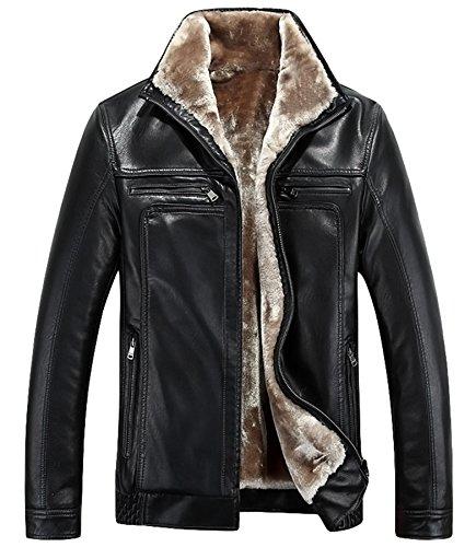 Männer Leder Verdicken Leder Jacke Winter Warm Mantel Schwarz
