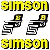 Set Aufkleber Klebefolie für Simson S51 B Gelb für Tank und Seitendeckel