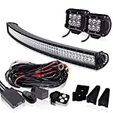 300W 52 Inch Curved Combo Beam Led Work Light Bar 4 Inch 18W Spot Driving Fog Lights 3Lead Remote Control Wiring Harness Kit Roof Windshield Bumper Mount For Marine Boat Offroad Utv 4X4 Truck 12V-24V