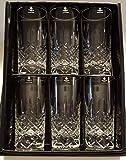 Caledonian 24% Lead Fully Cut 320ml Hi-Ball Highball Glasses Set of 6 In Presentation Box