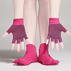 Pixnor Calcetines de yoga y Yoga juegos de guantes con puntos de silicona (rosa roja)