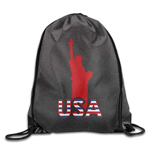 HLKPE Statue of Liberty American Flag Drawstring Backpack Cinch Bag Swim Gym Sack Packs Pocket Storage - Gator Statue