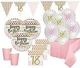 XL 44 Teile Pink Chic Party Deko Set zum 18. Geburtstag in Rosa und Gold Glanz für 8 Personen