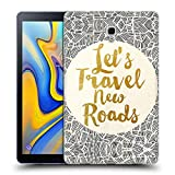 Ufficiale Pom Graphic Design Let's Travel New Roads Tipografia Cover Morbida in Gel per Samsung Galaxy Tab A 10.5 (2018)