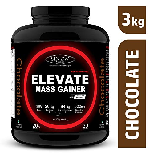 Sinew Nutrition Elevate Mass Gainer with Digestive Enzymes, 3 kg...