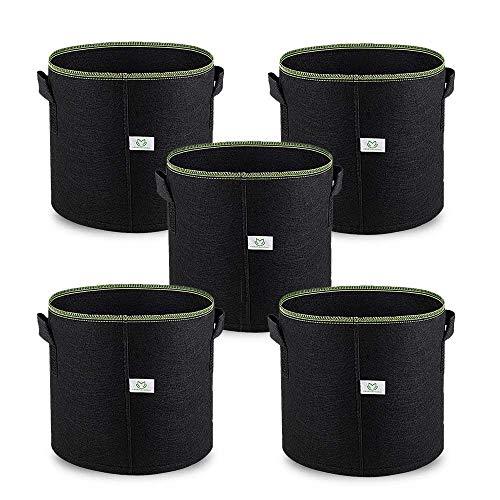 7Gallon / 30L Sac de Croissance Plante Pots en Tissu, 5 Pièces Indoor Planter Sacs pour Culture de Fleur Légumes Patate, Premium Respirant Naturel Matériau Non-Tissé Renforcé