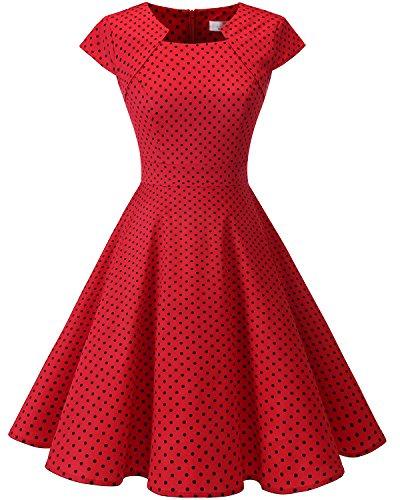 Homrain Damen 50er Vintage Retro Kleid Party Rockabilly Cocktail Abendkleider Red Small Black Dot XS