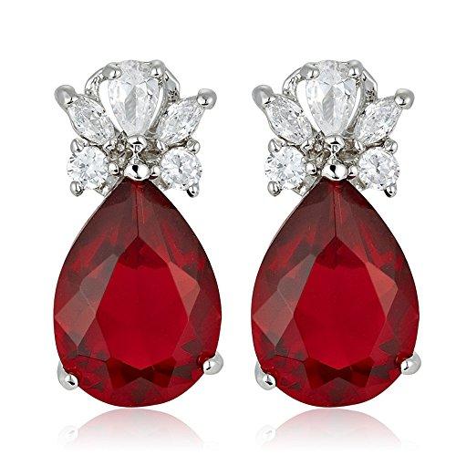 Pietre preziose rosse di pietre preziose del diamante della pera tagliate CZ orecchini di goccia ciondolano gli orecchini di goccia Elegante moderno penetrato [sacchetto libero dei monili]