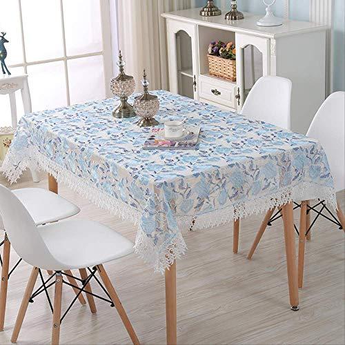 GMKR Tischdecke Mode Qualität Spitze Tischdecke Blau Stickerei Tischdecke Decor Rechteck Tischdecken Tee Flagge Abdeckung Tuch Staubschutz 60X180 cm - Rechteck Tischdecke Blau