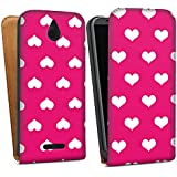 HTC Desire 510 Tasche Hülle Flip Case Polka Herz Pink Weiß