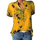 VECDY Damen Oberteile Frauen Tops Sexy Bedruckte Tasche Plus Size Kurzarmbluse Easy T-Shirt Mode Pullover Bluse Sweatshirt Beachwear S-5XL (❤Gelb, 4XL)