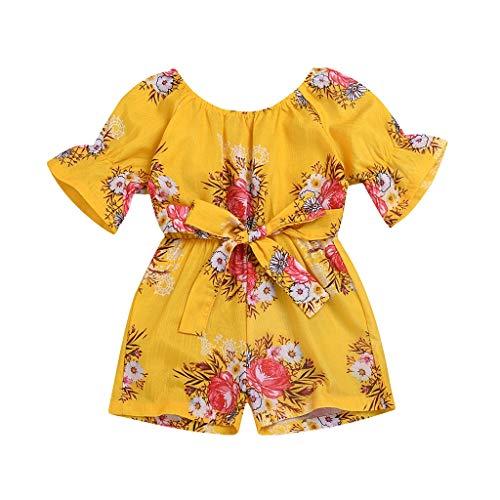 Yanhoo-Kinder Kinderkleidung MäDchen Langarmshirts Bluse HosenträGer Party Rock Set Outfit Langarm Baumwolle Top + LäTzchen Babybekleidung für Mädchen