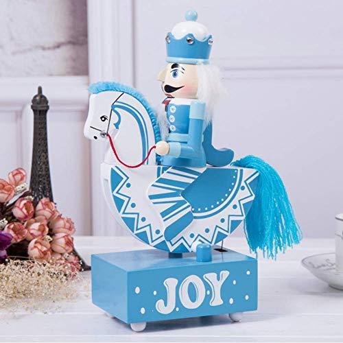 BYBAY Music Box 25Cm Pink Princess Blue Nussknacker Schaukelpferd Glockenspiel vor und nach dem Körper für Hochzeit, Weihnachten und Geburtstag, blau Glockenspiel Music Box