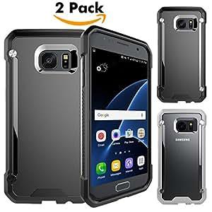 Cover Samsung Galaxy S7,Unives S7 Case Cover Custodia Bumper,Shock-Absorption e Antigraffio Custodia per Samsung Galaxy S7 [2-Pack,nero e grigio]