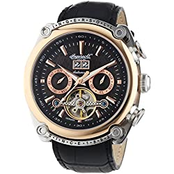 Ingersoll Las Vegas IN6909RBK Men's Chronograph Automatic Watch XL Leather Strap