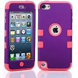 ShopmallHK PC + TPU Mode de conception de style de couleur de contraste Hard Case Hybrid impact Blindé pour Apple iPod Touch 5 (violet + rose)