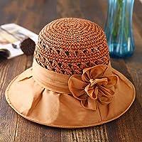 Sombrero - Visera de Verano para Mujer al Aire Libre Viaje de Vacaciones  Sombrero de Paja 40614c16f71