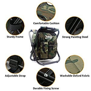 Zology Folding Camping Chair Stool Backpack with Cooler Insulated Picnic Bag, Camouflage Portable Hiking Seat Table Bag for Outdoor Indoor Fishing Travel Beach BBQ by Zology