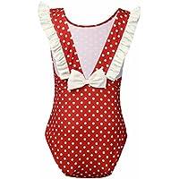 7cf45d9e1f5ed Freebily Girls Kids One-Pieces Sleeveless Polka Dots Swimsuit Swimwear  Summer Beachwear
