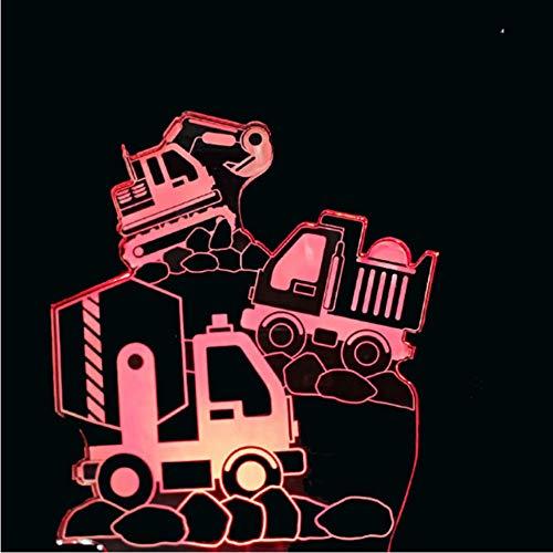 3D Creative Night Light Accueil éclairage Décor 7 Couleur Excavator Transport Véhicule Modélisation Led Construction Outils Camion Bureau Lampe