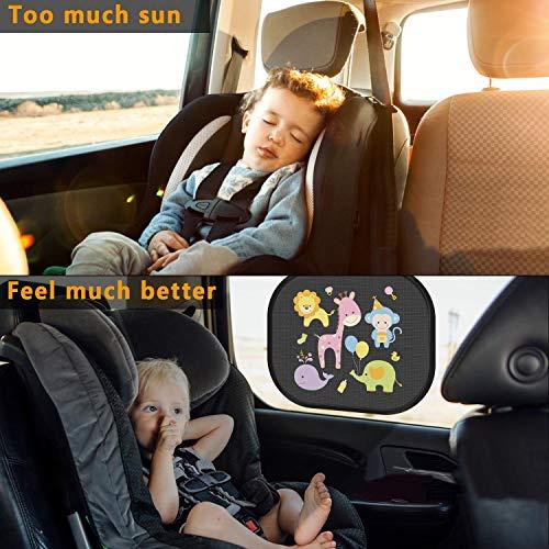 PEYOU Pare soleil voiture bébé(4 Pack),Autoadhésif pare soleil de voiture-facile à installer pare soleil statique-bloquer les rayons UV nocifs et la chaleur éblouissante pour bébé,Adultes,Chien