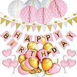 Geburtstagsdeko für Mädchen Jungen Frauen Männer, Geburtstagsdeko Rosa Blau Schwarz Gold (rosa)