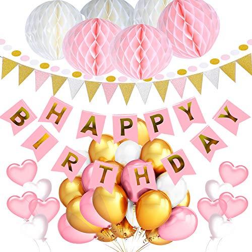 Geburtstagsdeko für Mädchen Jungen Frauen Männer, Geburtstagsdeko Rosa Blau Schwarz Gold (rosa) (Rosa Wohnungen Glitter)