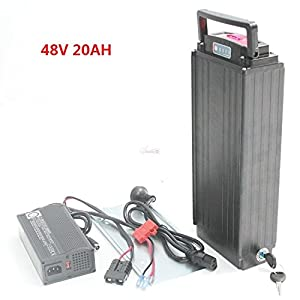 51q0L6P5DwL. SS300  - Free shipping and free duty High Power 48V 20 AH OEM Cell Rear Rack Rear Carrier Flat Aluminium Case Li-ion Battery With 5A Charger and BMS for ebike Electric Bike
