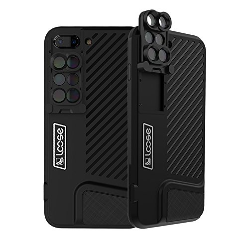 KONKY Premium iPhone 8 Plus/7 Plus Kamera Objektiv Kit Schutzhülle Case, 120°Weitwinkel Objektiv & 20X Makro Objektiv & 180°Fisheye Objektiv, Shockproof Hard Shell für iPhone 8 Plus/7 Plus