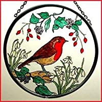 Decorativa pintada a mano Vidriera Mountain/colada de Robin en diseño de flores