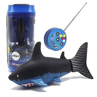 eMart Mini Fernbedienung Spielzeug Elektrisch RC Fisch Hai Tolles Wasserspielzeug für Kindergeschenke - Schwarz von eMart Tech