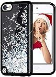 wlooo Coque iPod Touch 6 Glitter Étui, Silicone Paillette Protecteur TPU Bumper Housse Flowing Liquide Case Cristal Shiny Étincelle Noir Antichoc Souple Brillante Cover pour iPod Touch 6/5