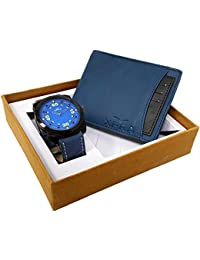 XPRA Blue Analog Watch, Blue & Black Card Removable Genuine Leather Wallet For Men/Boys Combo (Pack Of 2) - (WCH-WL...