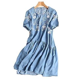 AMYMGLL Frauen-Denim-Kleid im europäischen Stil kurzärmeliger Tencel Denimkleid Rundhals Baumwolle Sommer blau, as Shown, m