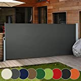 Jago Retractable Side Awning | different colours and sizes (160x300cm, 180x300cm, 200x300cm), UV Protection, Waterproof | Sunshade Screen Panel, Anthracite/160x300cm