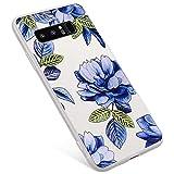 Uposao Compatibile con Samsung Galaxy Note 8 Custodia Trasparente con Peonia Rosa Disegni, Morbida Silicone Ultra Sottile TPU Gel AntiGraffio Antiurti Custodia Protettiva,Fiore Blu