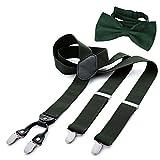 DonDon Herren 3,5 cm breiter Hosenträger in Y-Form elastisch und verstellbar im 2er Set mit farblich passender Fliege 12 x 6 cm Grün