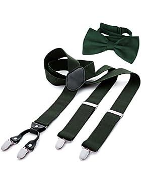 DonDon Tirantes para hombres ancho 3,5 cm en forma de Y, elásticos y ajustables en paquete de 2 con pajaritas...