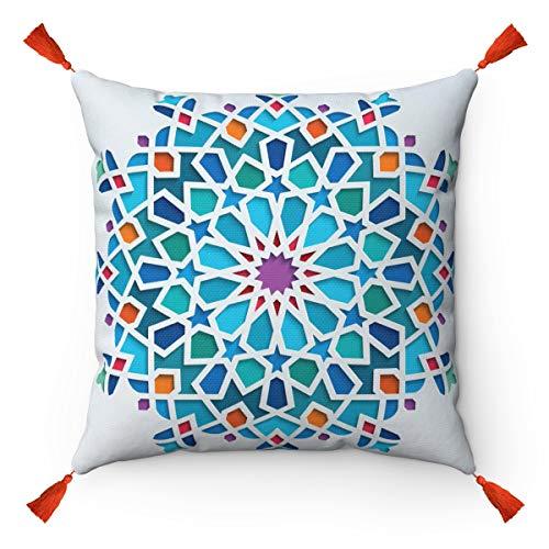 Tiles Mosaic - Funda de cojín Original de Estilo marroquí con Pompones de borlas Naranjas - Cojín...