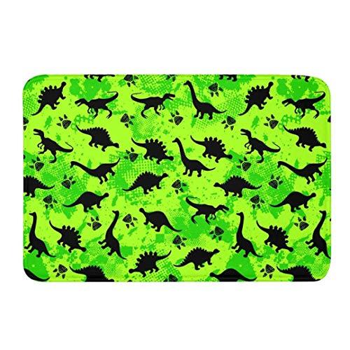 OMUSAKA Badteppiche Anti-Rutsch Waschbar Dinosaurier 3D-Druck Teppich Waschraum Badezimmer Boden Eingangstür Duschwanne Teppich