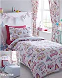 Kidz Club Reversible Design Glamping Caravan Duvet Quilt Cover and 2 Pillowcase Bedding Bed Set for Girls, White, King