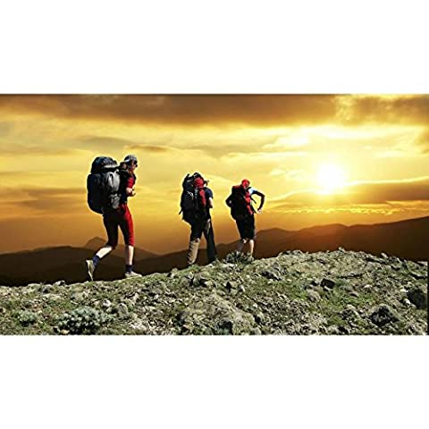 Mountain Climbers Sunset - Large Canvas Picture Wall Art - Size 30