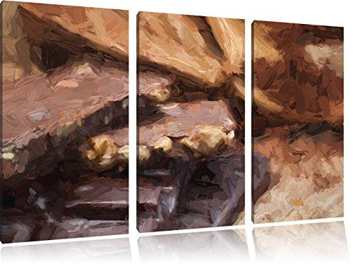 Leckere Schokolade Pinsel Effekt 3-Teiler Leinwandbild 120x80 Bild auf Leinwand, XXL riesige Bilder fertig gerahmt mit Keilrahmen, Kunstdruck auf Wandbild mit Rahmen, gänstiger als Gemälde oder Ölbild, kein Poster oder Plakat -