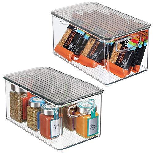 Portaoggetti frigo dai Bordi Alti per l/'organizzazione dei cibi Contenitore Freezer in plastica per frigo e dispensa Trasparente//Grigio mDesign Set da 2 Contenitore Alimenti con pratici Manici