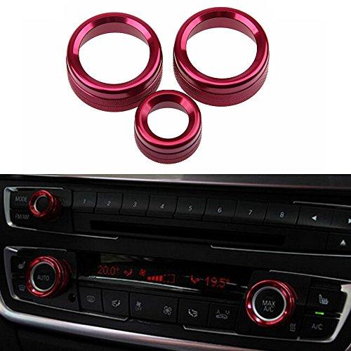 PolarLander 3Pcs / Lot Auto-Klimaanlage schellt Radio-Volumen-Knopf-Ring-Abdeckungen dekorative Kreis-Ordnung-hohe Match-Rot