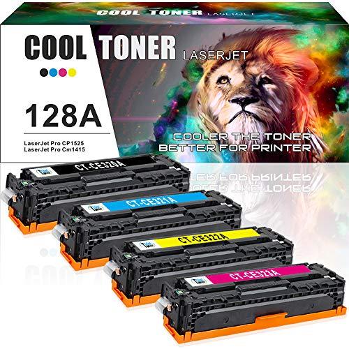 Cool Toner 4 Packs Kompatibel für 128A CE320A CE321A CE322A CE323A für HP Laserjet Pro CP1525 CP1525N CP1525NW CM1415 CM1415FN CM1415FNW MFP - 2,000 Pages, Colour - 1,300 Pages