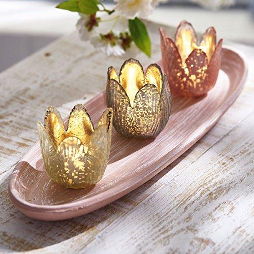 Preisvergleich Produktbild Teelichtgläser Blüten - 3 Teelichthalter mit Tablett - 4-teiliges Set - Rosa Gold Taupe
